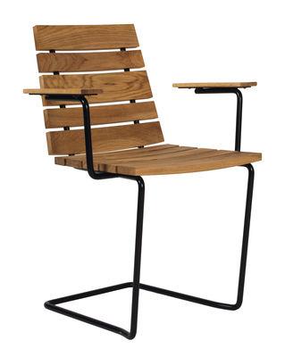 Mobilier - Chaises, fauteuils de salle à manger - Fauteuil Grinda / Bois & métal - Skargaarden - Teck / Structure noire - Acier, Teck