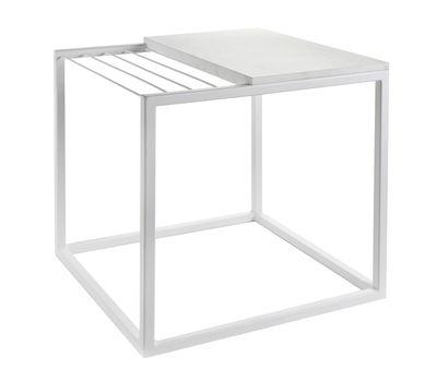 Mobilier - Tables basses - Table d'appoint Hang It Small / Porte-magazines - Marbre / 47 x 47 cm - Serax - Marbre blanc / Structure blanche - Marbre, Métal peint