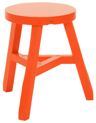 Furniture - Stools - Offcut Stool by Tom Dixon - Fluoro orange - Painted oak