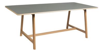 Mobilier - Tables - Table Frame / 200 x 90 cm - Hay - Gris / Pieds bois - Frêne, Hêtre, Linoléum