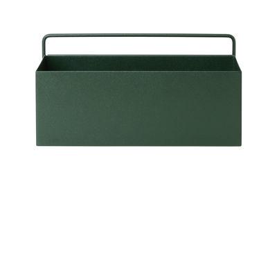 Pot de fleurs Rectangle / L 30,6 x H 15,6 cm - Ferm Living vert foncé en métal
