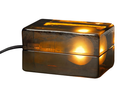 Block Lamp Ambre Table lamp - L 16 cm Amber / Brown cord by Design ...