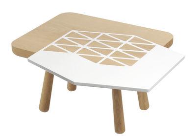 Tavolino basso Les Biches / Diamond - 50 x 40 cm - Y'a pas le feu au lac - Bianco,Legno naturale - Legno