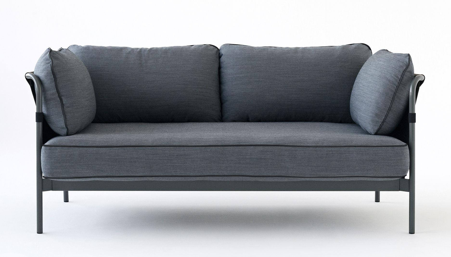 canap droit can 2 places l 172 cm gris bleu c t s kaki m tal gris hay. Black Bedroom Furniture Sets. Home Design Ideas