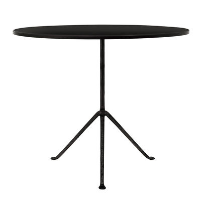 Jardin - Tables de jardin - Table Officina Outdoor / Ø 80 cm - Plateau acier - Magis - Acier noir / Pieds noirs - Acier, Fer