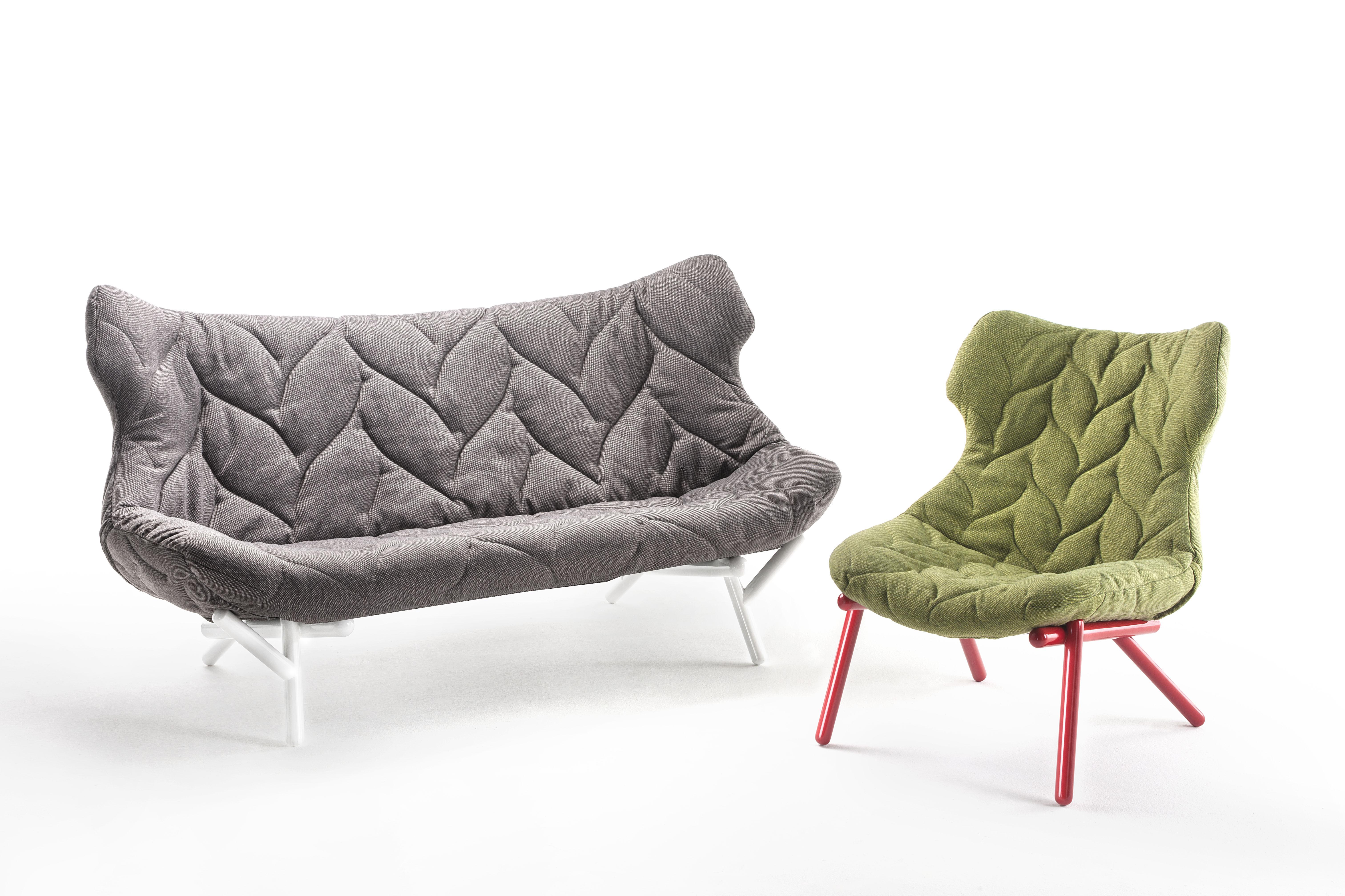 canap droit foliage l 175 cm gris pieds noirs kartell. Black Bedroom Furniture Sets. Home Design Ideas