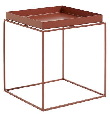 Tavolino basso Tray H 40 cm / 40 x 40 cm - Quadrato - Hay - Rosso - Metallo