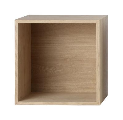 Mobilier - Etagères & bibliothèques - Etagère Stacked / Medium carré 43x43 cm /  Avec fond - Muuto - Frêne - MDF finition frêne