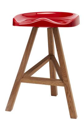 Mobilier - Tabourets de bar - Tabouret de bar Heidi / H 65 cm - Plastique & bois - Established & Sons - Rouge - Chêne huilé, Polyuréthane