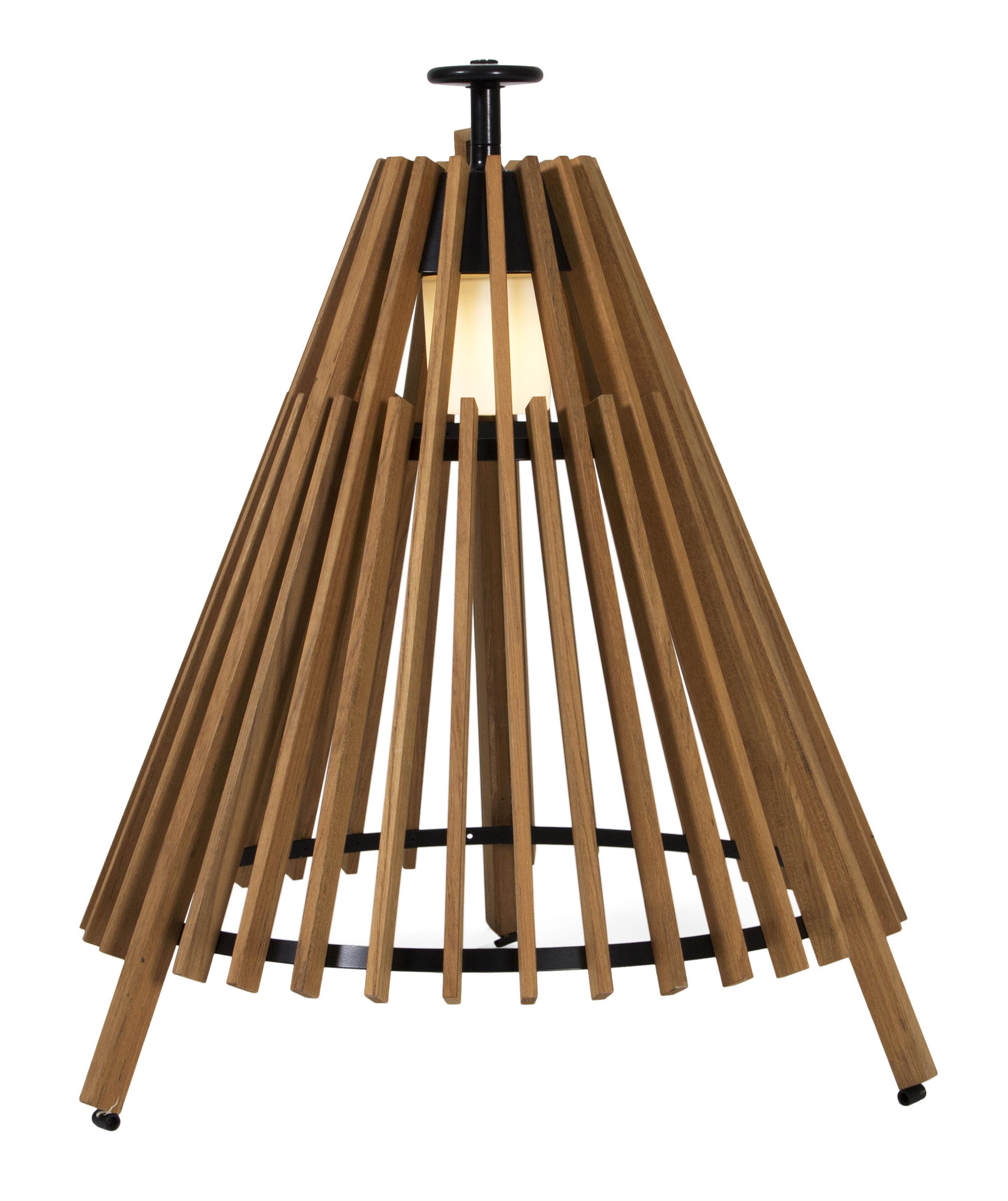 lampe poser tipi l led h 95 cm bois teck noir skargaarden made in design. Black Bedroom Furniture Sets. Home Design Ideas