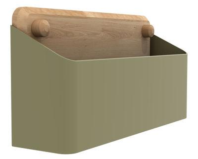 Foto Scaffale a parete Pin Box L / larg 32 cm - Universo Positivo - Rovere naturale,Khaki - Metallo Portaoggetti da parete