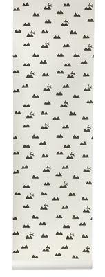 Papier peint Rabbit / 1 rouleau - Larg 53 cm - Ferm Living noir,blanc cassé en papier