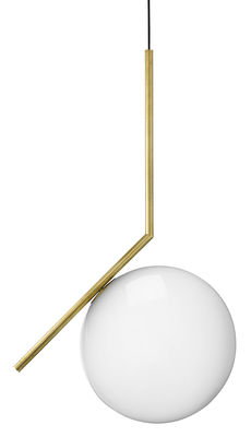 Luminaire - Suspensions - Suspension IC S2 / H 72 cm - Flos - Laiton - Acier, Verre soufflé