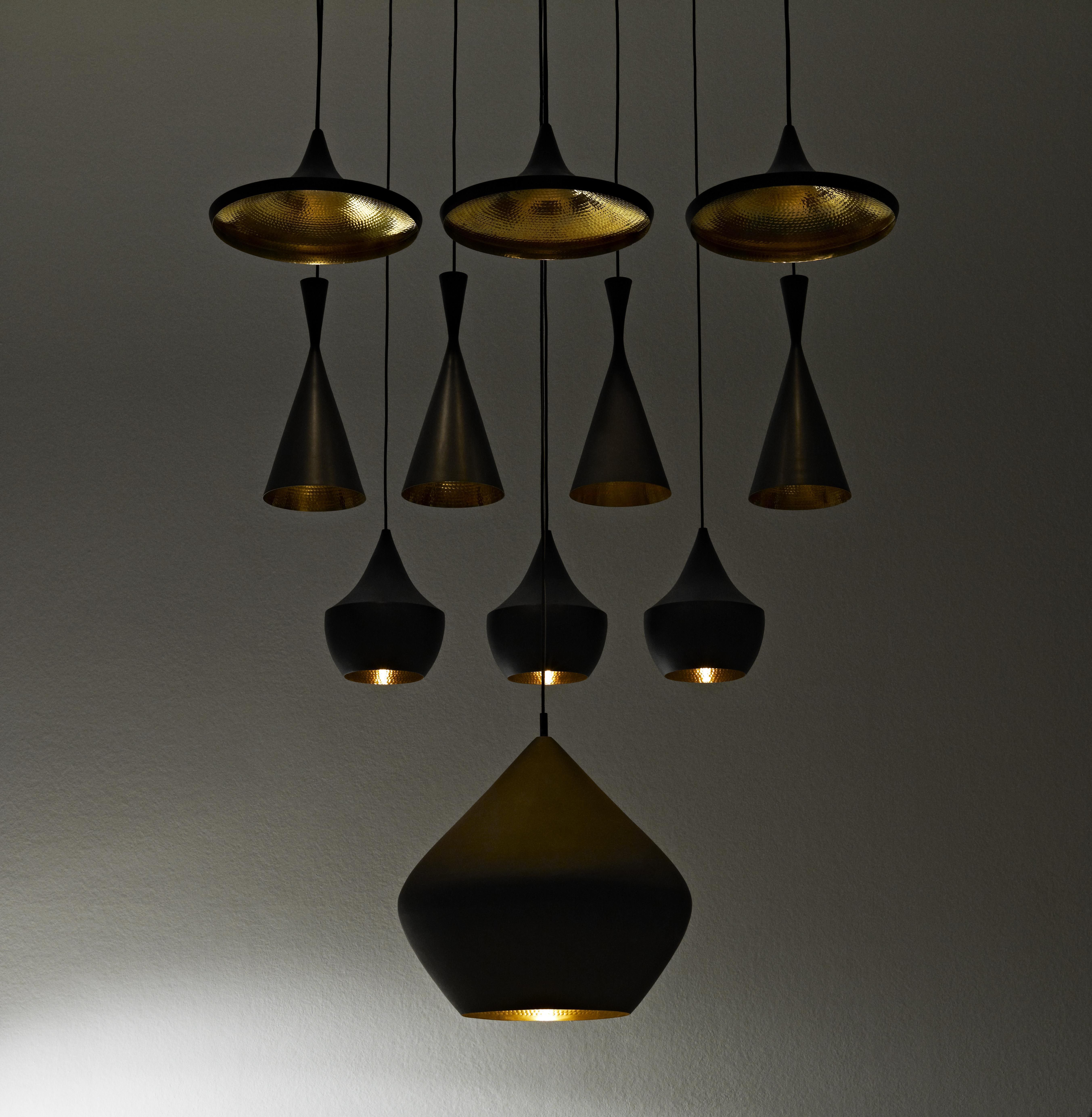 Beat fat pendant black gold by tom dixon Tom dixon lighting