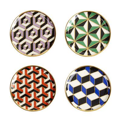 Image of Sottobicchieri in vetro Full Deck / Set di 4 - Porcellana & oro 24 carati - Jonathan Adler - Multicolore - Ceramica