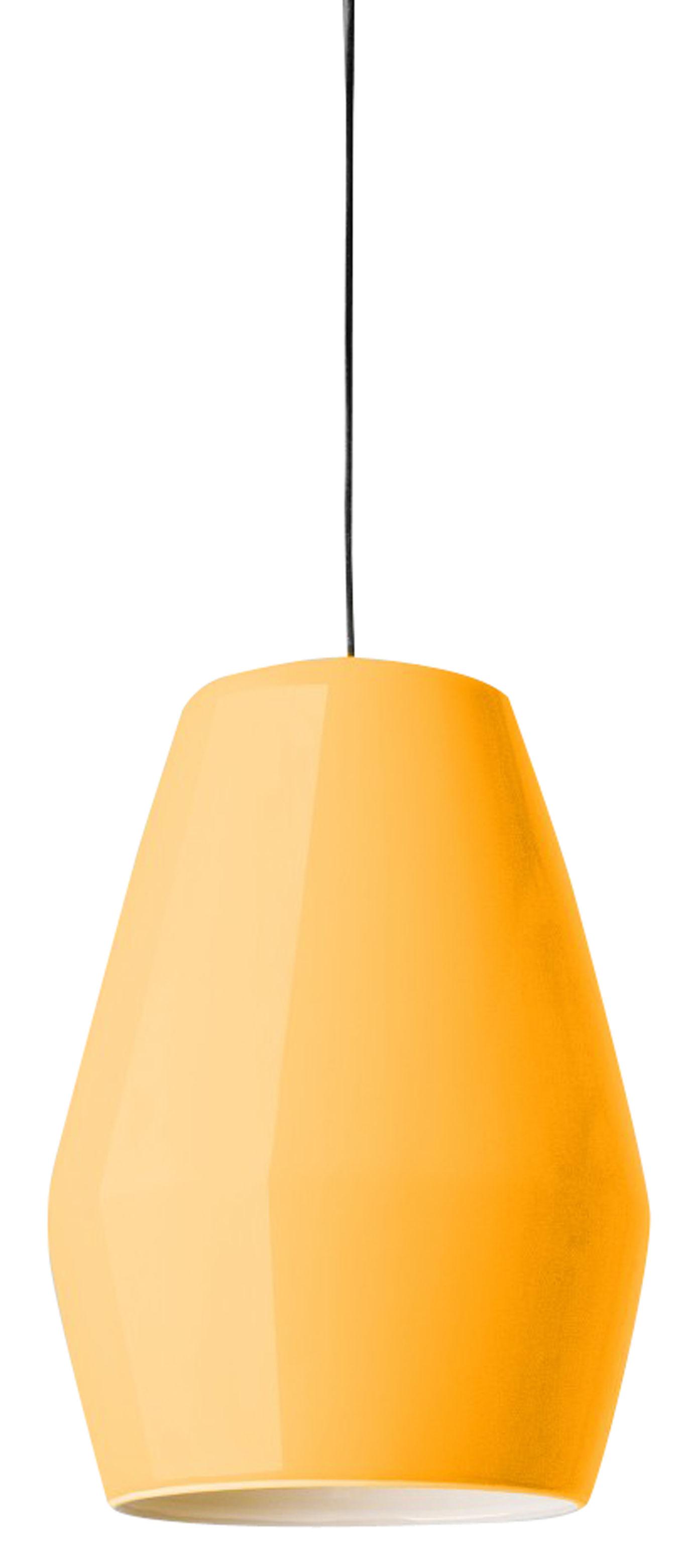 suspension bell en porcelaine jaune moutarde northern. Black Bedroom Furniture Sets. Home Design Ideas