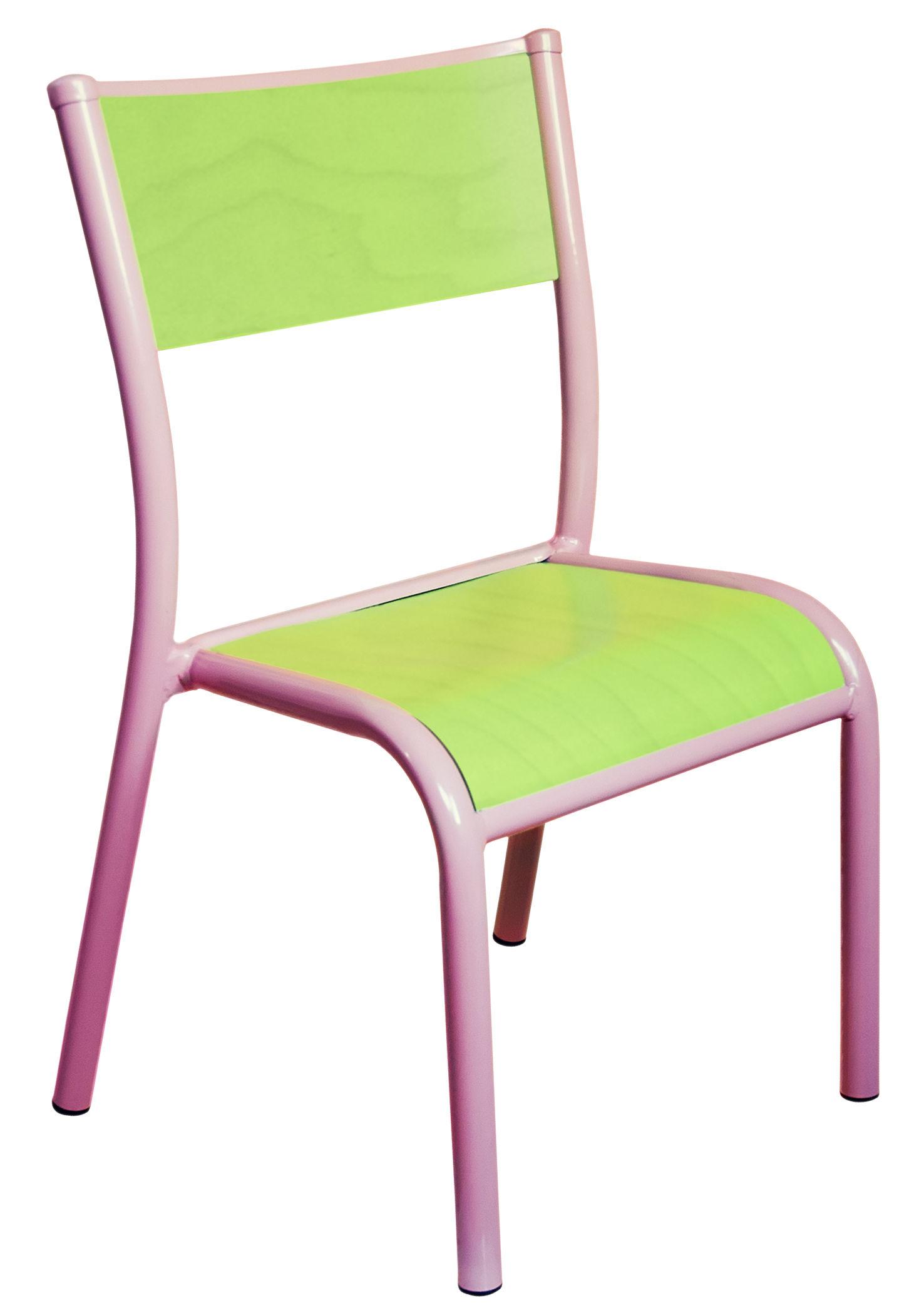 chaise enfant 510 originale r dition 1947 vert anis structure rose anglais label edition. Black Bedroom Furniture Sets. Home Design Ideas