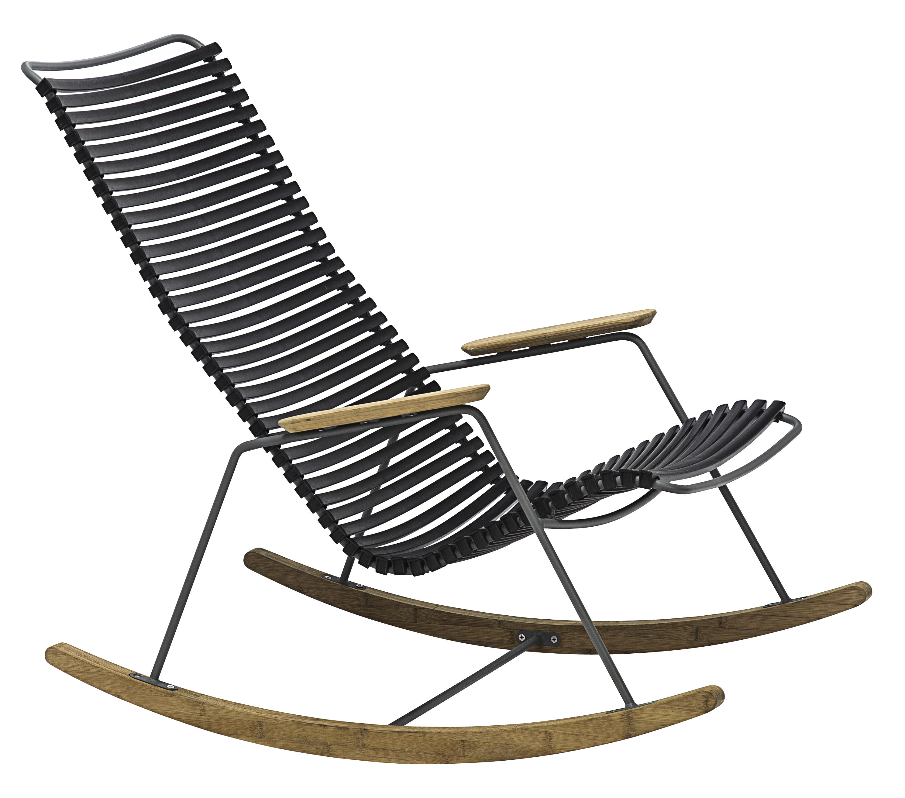 Rocking chair Plastic & bamboo Black by Houe