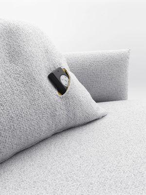 Déco - Coussins - Coussin Hara 55 x 55 cm - Avec poche télécommande - MDF Italia - Tissu Tika blanc - Pochette tissu Manila jaune - Polyester, Tissu