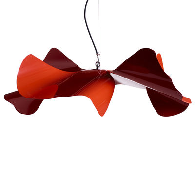Luminaire - Suspensions - Suspension Papavero Large / Ø 90 cm - Acier - Opinion Ciatti - Rouge - Acier inoxydable, Tissu
