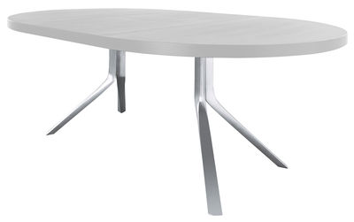 table à rallonge oops / l 125 à 180 cm blanc / pieds aluminium