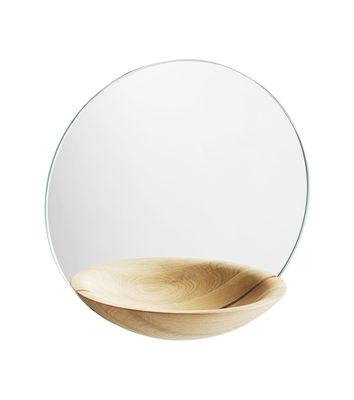 Déco - Miroirs - Miroir mural Pocket Small / Vide-poche intégré - Ø 26 cm - Woud - Chêne clair - Chêne massif, Verre