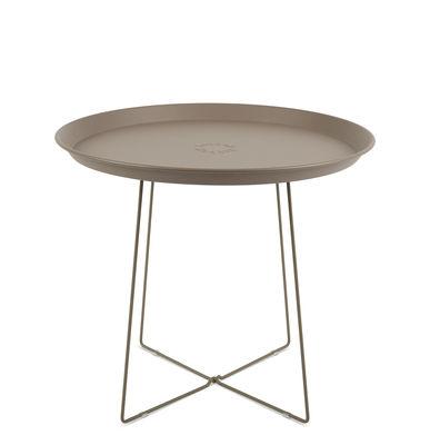 Table basse Plat-o / Plateau amovible - Ø 56 x H 46 cm - Fatboy taupe en métal