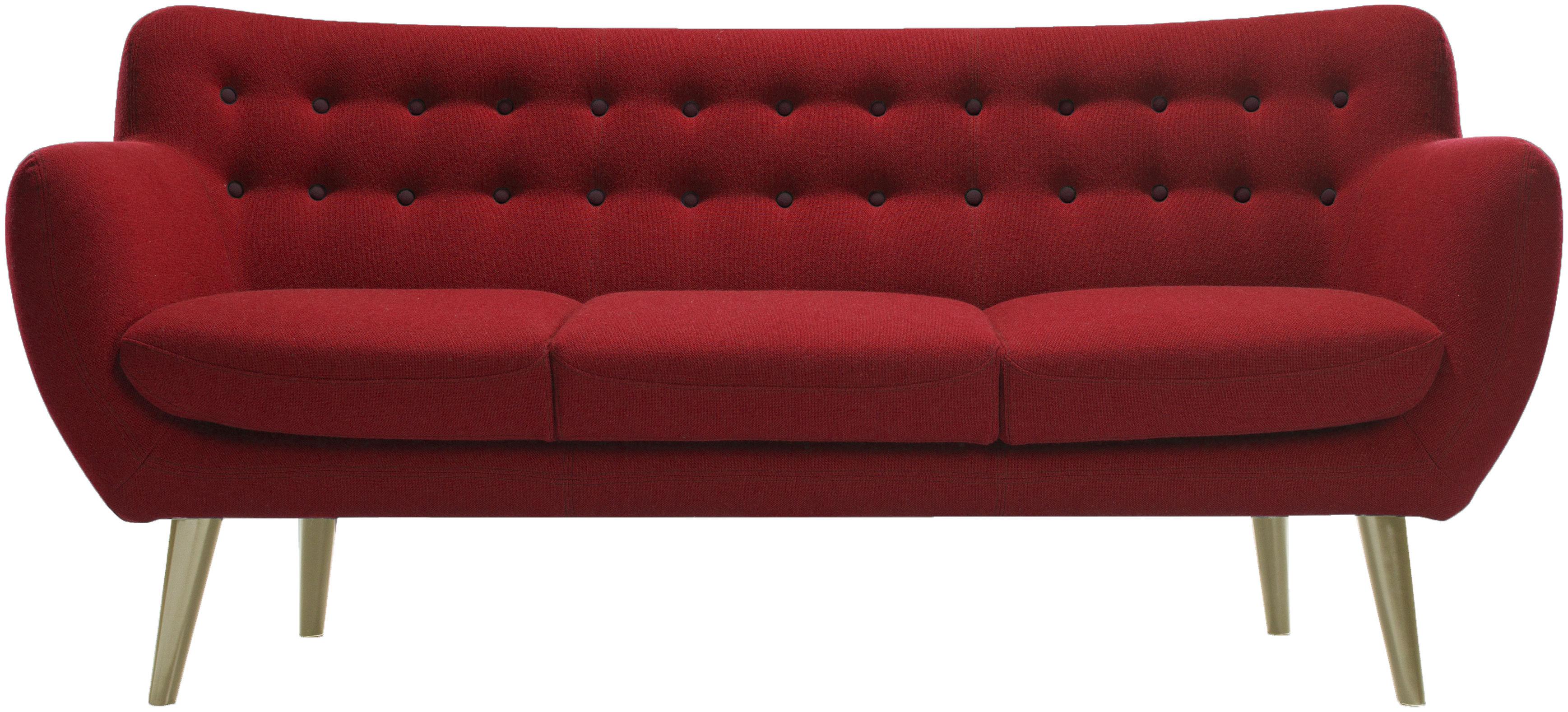 Canap droit coogee 3 places l 181 cm rouge boutons bordeaux sentou edition - Canape rouge bordeaux ...