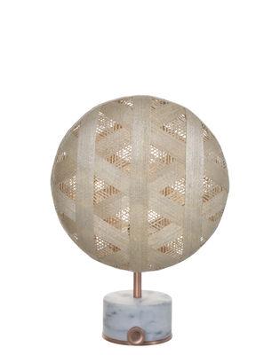 Lampe de table Chanpen Hexagon / Ø 26 cm - Motifs triangles - Forestier cuivre,beige en tissu
