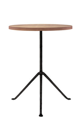 Officina Outdoor Beistelltisch / Ø 42 x H 56 cm - Tischplatte aus Holz - Magis - Schwarz,Esche, dunkel