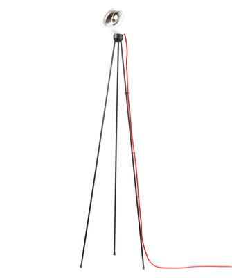 Luminaire - Lampadaires - Lampadaire Tripod 180° / LED - Azimut Industries - Blanc / Câble tissu rouge - Métal laqué