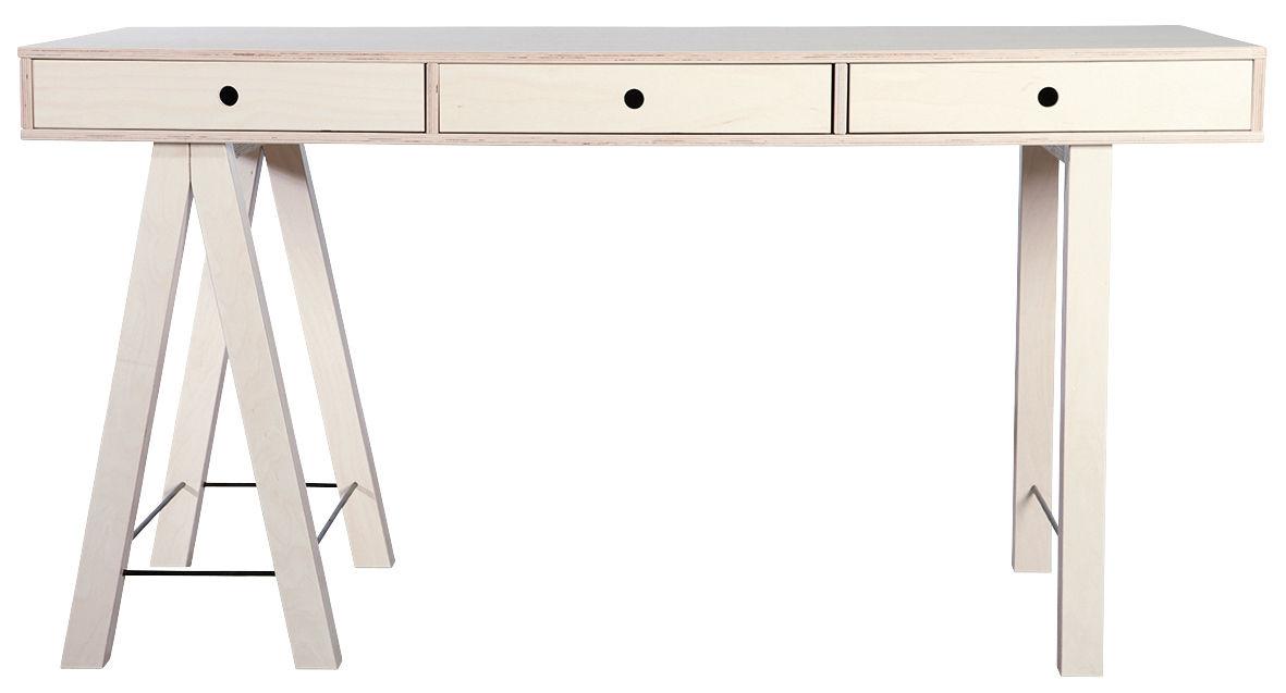 bureau mix l 150 cm 3 tiroirs bouleau brut bouleau naturel house doctor. Black Bedroom Furniture Sets. Home Design Ideas