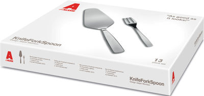 Set de couverts KnifeForkSpoon / Pelle à tarte + 12 fourchettes à gateaux - A di Alessi acier brillant en métal