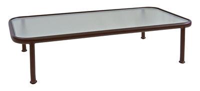 Tavolino basso Dock / 130 x 71 cm - Vetro - Emu - Marrone d'India,Semi transparente - Metallo