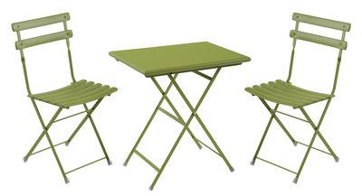 Set table & chaises Arc en Ciel / Table 70x50cm + 2 chaises - Emu vert menthe en métal
