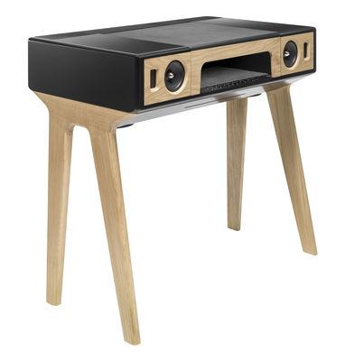 Bureau LP 160 Enceinte acoustique haute Fidélité Bluetooth La Boîte Concept noir laqué chêne naturel en bois
