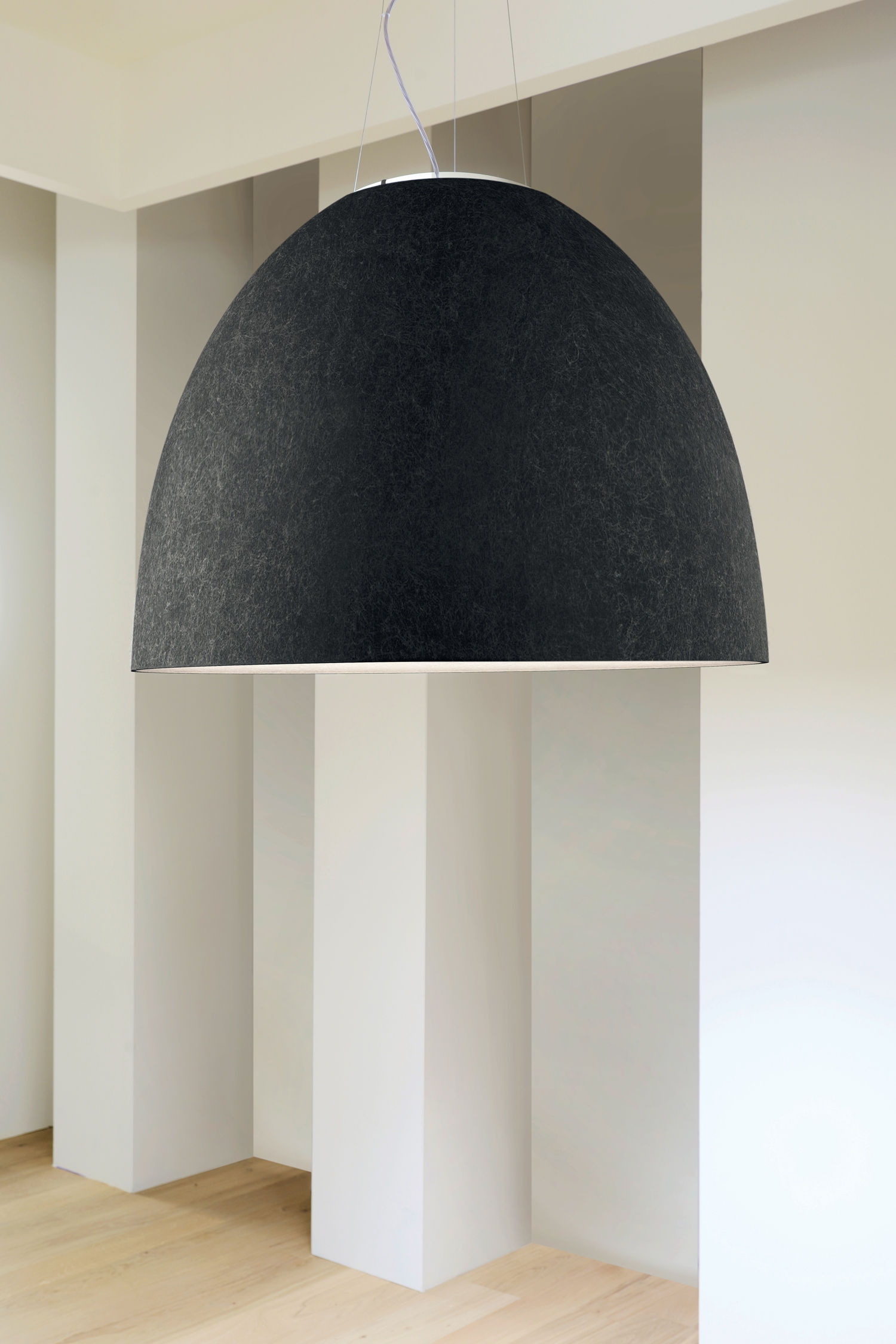 Nur Led Suspension Acoustique Felt 91 Cm Dark Grey By Artemide