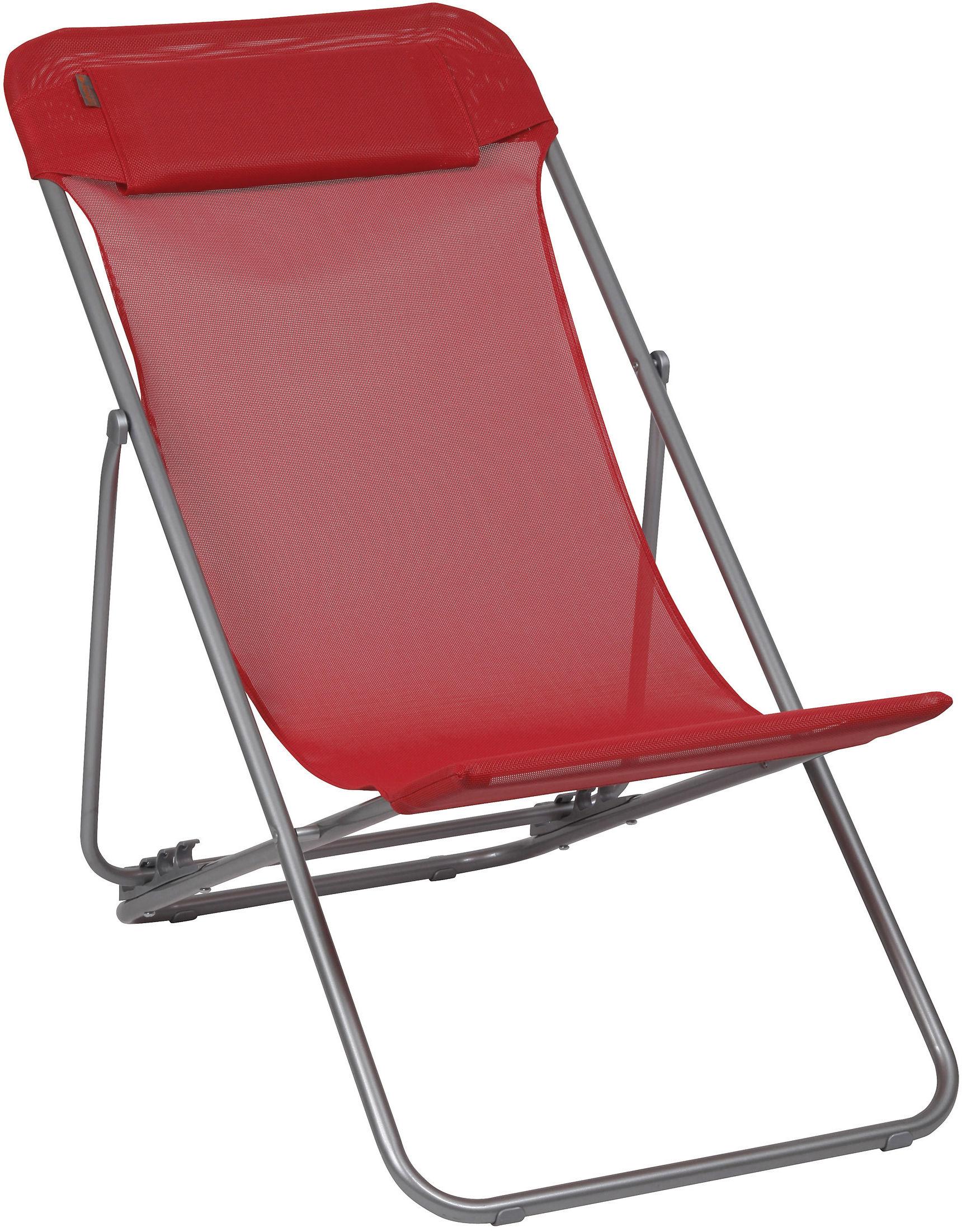 chaise longue transaluxe pliable 4 positions avec t ti re coquelicot structure grise. Black Bedroom Furniture Sets. Home Design Ideas