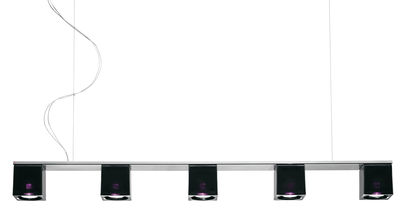 Luminaire - Suspensions - Suspension Cubetto - Black Glass 5 éléments - Fabbian - Noir / violet - Métal chromé, Verre