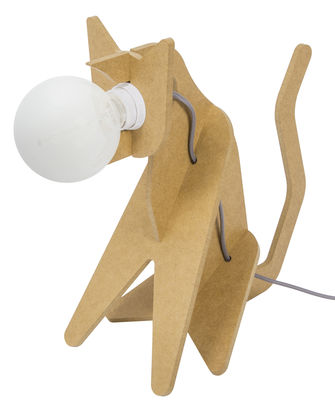 Lampe de table Get Out / Chat - ENOstudio Gris,Jaune moutarde en Bois