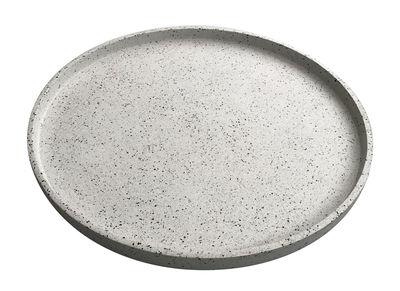 Plateau Terrazzo / Fait main - Ø 55 cm - Trimm Copenhagen blanc en pierre