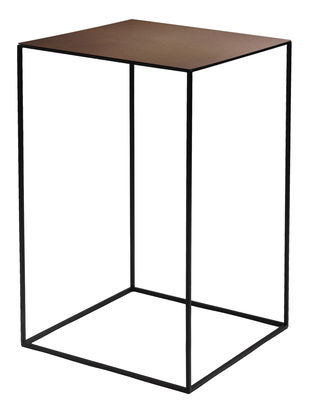 Tavolino basso Slim Irony / 41 x 41 x H 64 cm - Zeus - Ruggine,Nero ramato - Metallo