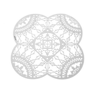 Dessous de verre Petal Italic Lace 10 x 10 cm Lot de 4 Driade Kosmo blanc en métal