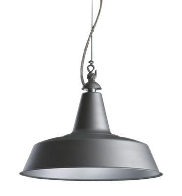 Luminaire - Suspensions - Suspension Huna Ø 40 cm / Réédition 1965 - Fontana Arte - Aluminium mat / Intérieur blanc - Acier, Métal
