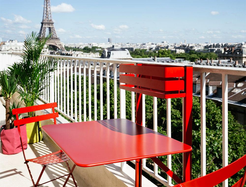 Table pliante balcon bistro rabattable 77 x 64 cm capucine fermob Table balcon pliante rabattable