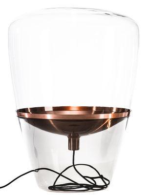 Lampe balloon large h 78 cm verre transparent cuivre for Miroir a poser par terre