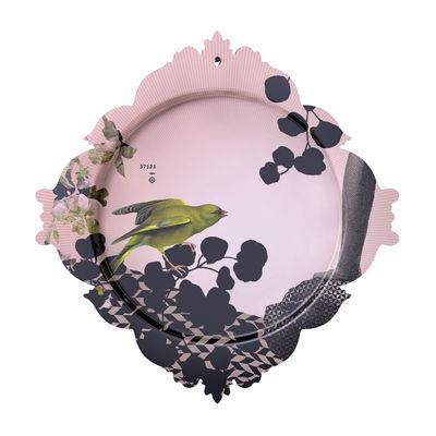 Plateau Passereau / L 48 x H 50 cm - Ibride rose,gris,vert en matière plastique
