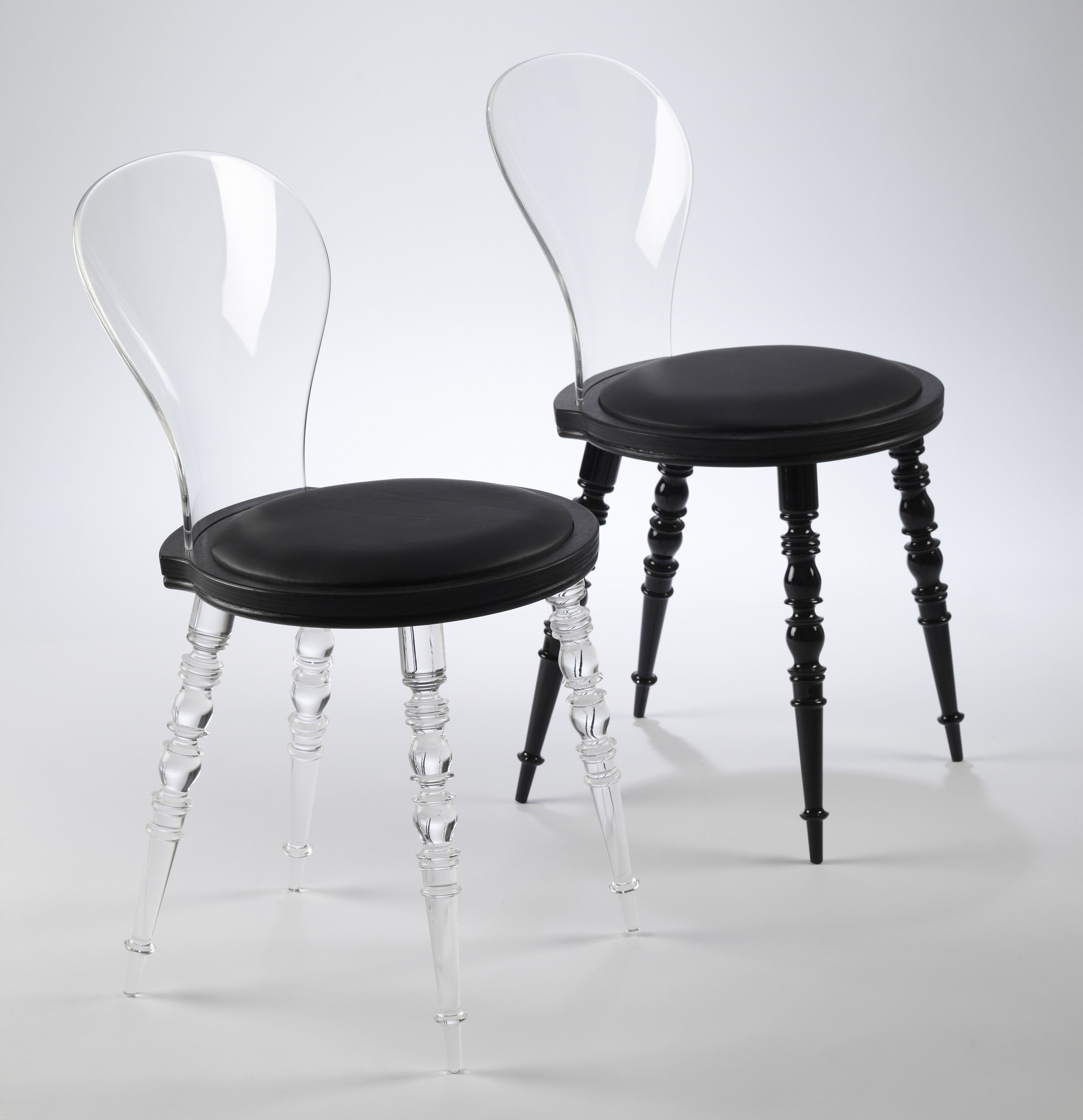 Chaise Moderne Transparente: Chaise Babel / Transparent & Assise Cuir Pieds Noirs