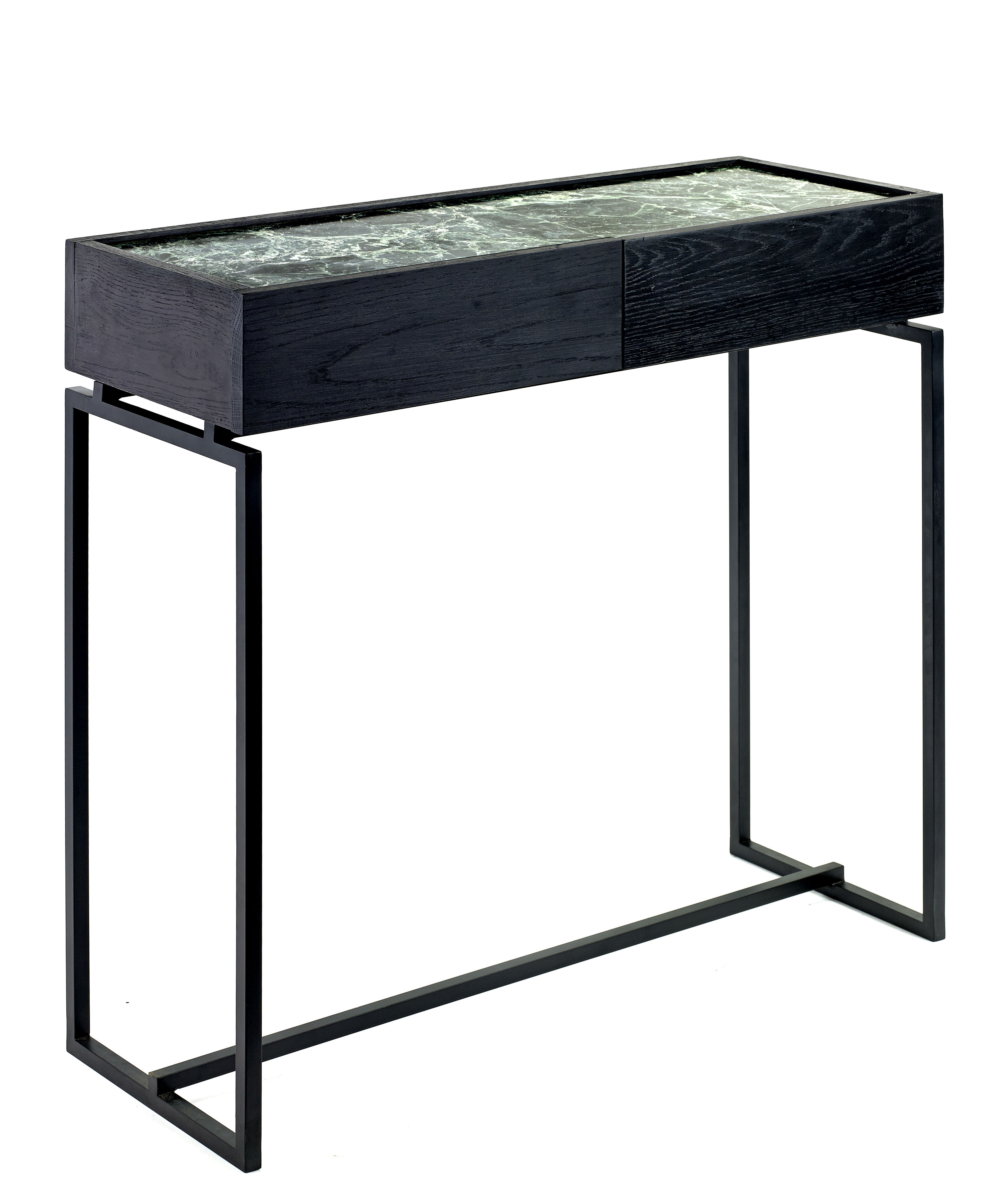 console verde 2 tiroirs marbre l 80 cm marbre vert pied noir serax. Black Bedroom Furniture Sets. Home Design Ideas