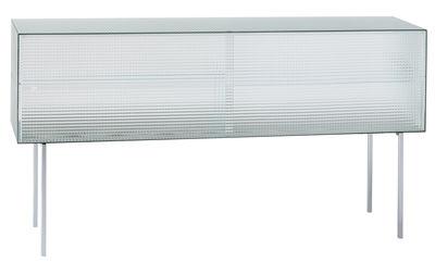 Credenza Commodore bassa / Vetro quadrettato - L 180 x H 98 cm - Glas Italia - Traslucido,Meetallo cromato - Vetro